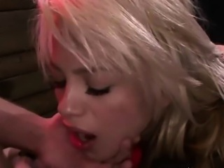 blonde blows cock while strapped down
