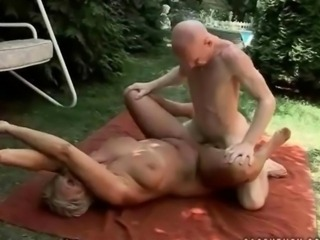Grandpa fucks busty grandma outdoor