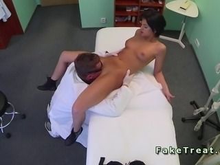 Doctor tries to seduce his patient in an office of fake hospital but failed...