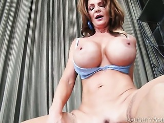 Deauxma with big bottom and trimmed beaver gets impaled on schlong by Derrick...