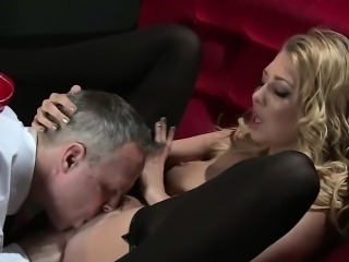 Busty stunning blonde slave exotic dancer blowjob
