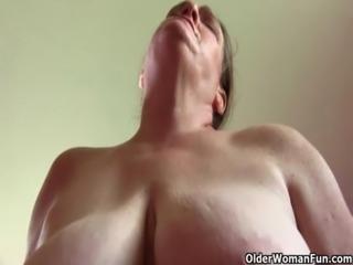 Grandma with big tits wakes up horny free