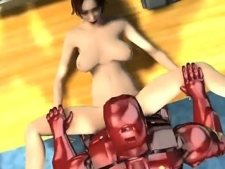 Foxy 3D brunette babe getting fucked hard by Iron Man