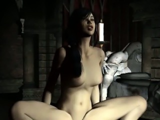 Hot 3D cartoon brunette gets fucked by a zombie