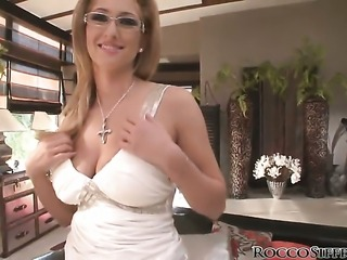 Karina Shay gets her mouth stretched by Rocco Siffredis stiff meat pole