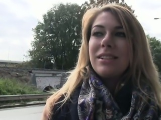 Busty amateur blonde banged in public outdoor