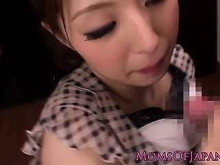 Cum hungry Japanese mom Hina Akiyoshi tastes two cum loads