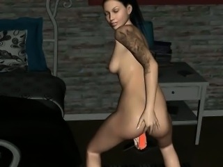 Tattooed 3D cartoon babe toying her wet pussy