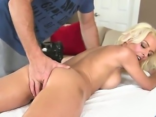 Skinny blond--haired mom Kali with charming smile, juicy boobs and small ass...