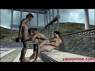 Threesome hentai gay having sex outdoor