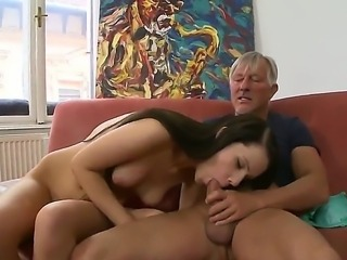 Babette A takes older mans hard dick in hardcore action