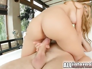 Experienced porn girl gets cum covered