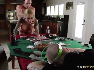 Sarah Jessie gets a mouthful of sticky nectar after sucking Johnny Sinss fuck...