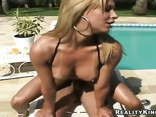 Blonde with round ass and clean snatch drops on her knees to gives blowjob to...