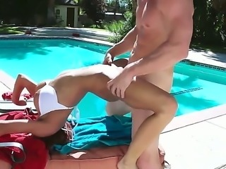Madison Ivy, a hot milf with awesome tits who wants to get some sun tan...