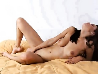 Slutty sex kitten Mayline with big melons and bald muff gives pleasure to...