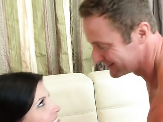 Rebecca Linares with giant breasts and smooth snatch gets turned on then...