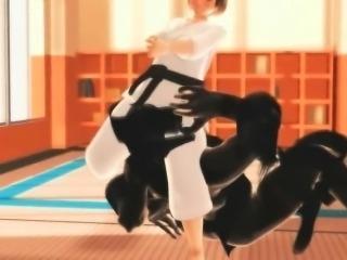 Karate anime anime cutie sucks monsters big cock