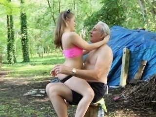 Crazy granpa spanks teenie and than fucks her