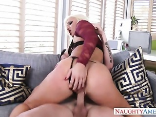 Blonde pornstars neighbor likes cock