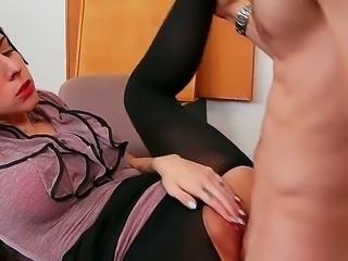 This bubble butt brunette sucks that rock solid pulsating penis before taking...