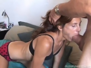 Slim older babe enjoys a hard cock in her tight asshole free