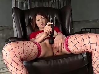 Japanese adult model Airi Mizusawa in red lingerie stimulates her asian bushy...