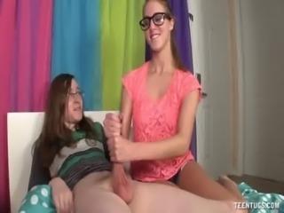 Nerd Teen Jerks Off Her Friend free