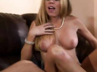 Busty blonde is having sex