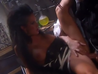 Sexy brunette Alektra Blue gives sensual blowjob to a lucky man then spreads...
