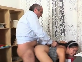 Enjoyable girl gets a wild drilling from horny old teacher
