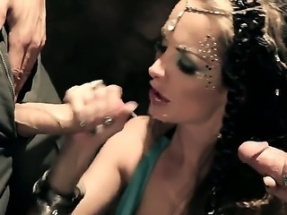Hot woman Alektra Blue with big hooters gives double blowjob and gets her...