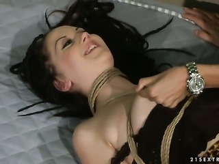 Brunette honey Gina Lorenzza with massive tits and Mandy Bright play with...