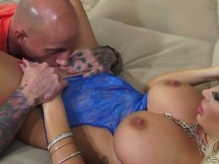 Beautiful blonde MILF Summer Brielle dressed in blue shows her perfect huge...