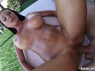 Brunette with giant breasts is on the edge of nirvana with dudes rock hard...
