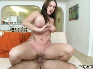 Brunette stunner Jennifer Stone with phat butt does lewd things with horny dude