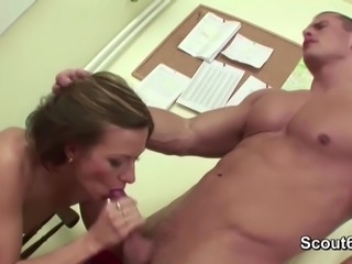 Hot MILF Teacher Seduce to Fuck her Asshole by Young Boy