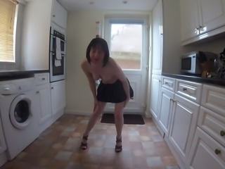 Wife in School uniform Dancing Striptease
