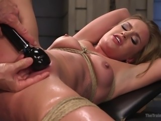 Fresh and tight, April is all right! The little slut gets tied up and her...