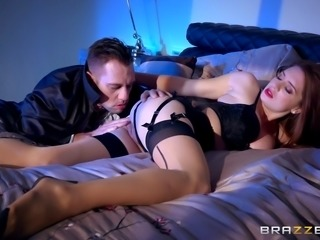 Erotic cheating wife sex with a redhead in black lingerie