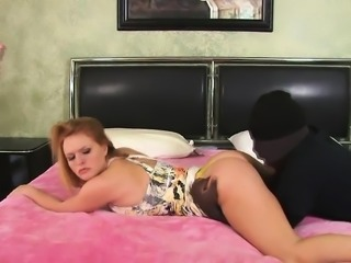 Hot blonde MILF blows his black rod and gets on top for a fuck ride
