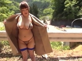Japanese cutie in fishnet stockings and the outdoors threesome sex