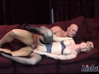 Busty slut gets boned by her man