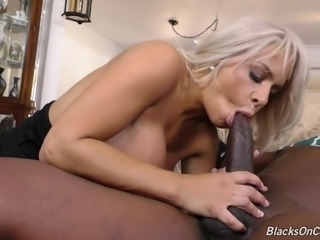 Nerdy blonde girl with big boobs is ready for that giant black cock