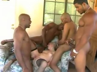 Pretty Blondie in her first BBC gangbang