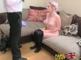 FakeAgentUK Amateur deep throat rimming squirting and anal fake sex casting