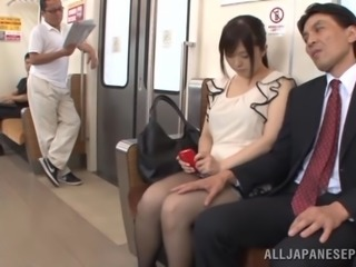 Busty Japanese milf Yua Kuramochi enjoys a gangbang in a bus