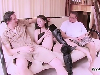 18yr old Skinny Teen Seduce to Fuck in Threesome by Stranger