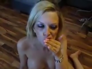 Blonde cum slut gets a facial and eats it afterwards