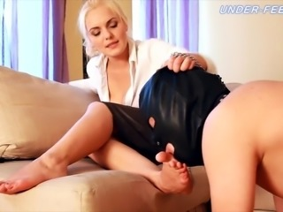 Hot foot fetish blonde enjoying her feet being licked by slave